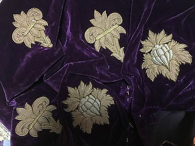 Antique French Stumpwork 19 pieces on old faded purple silk velvet