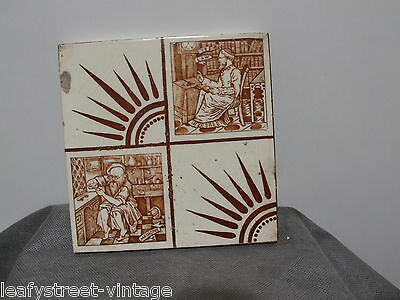 Antique Pictorial Tile Science Medicine Law By Wedgwood