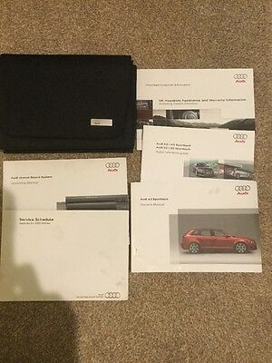 Audi A3 Sportback Handbook Pack Owners Manual Stamped Service Book