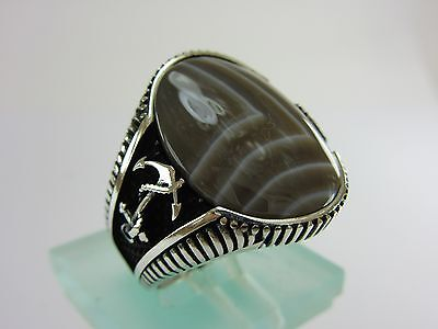 Turkish Handmade Ottoman Style 925 Sterling Silver Agate Men's Size 10.5