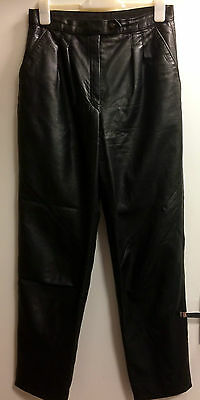 Vintage M&S black leather trousers size 14