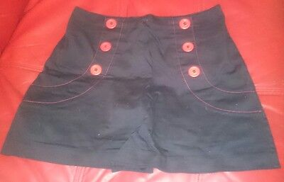 Women's Navy Blue Rockabilly Pin-Up 50's Vintage High-waisted Shorts