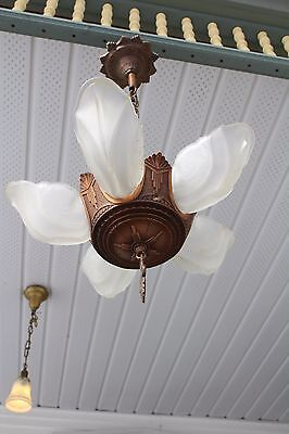 Antique Art Deco  5  Slip Shade Ceiling Light Fixture Chandelier Good Shape