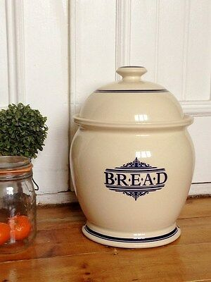 The 1869 Victorian Pottery Large Cream&navy Blue Ceramic Bread Crock Storage Bin