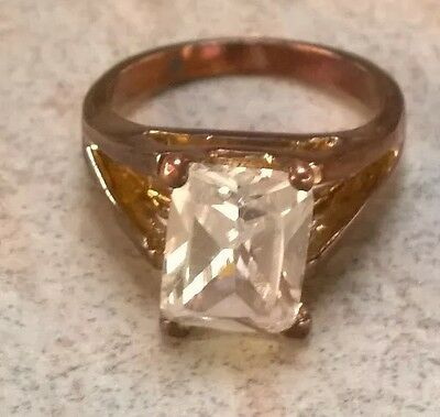 Vintage Antique Victorian copper facetted clear glass rectangular ring size M