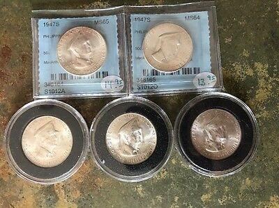 Lot of 5 - Silver Philippines 1947 S (50 Centavos) General MacArthur