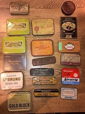 18 vintage tin boxes, tabacco, elastoplast, puncture repair kit etc