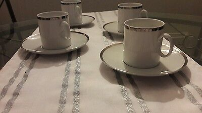 vintage  Thomas  china expresso size  platinum  ring cups and saucers