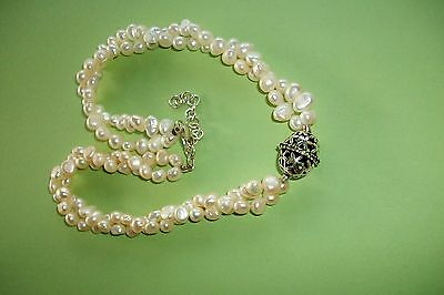 Vintage Freshwater Pearl Double Necklace + Silver Centre Piece Amethyst/peridot
