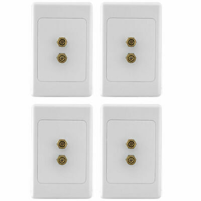 4 Pack - PRO2 1 way 2 Terminal Speaker Wall Plate/2X Banana Sockets/Suit Clipsal