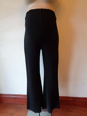 For Women Maternity Black Over Bump Wide Leg Palazzo Trousers Size 10
