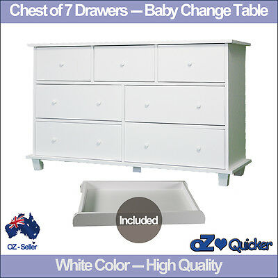 7 Drawers Baby Change Table Nursery Dresser Chest Storage Cabinet Furniture cot