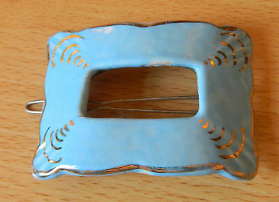 Victorian enameled  pottery  hair clip