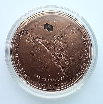 Cook Islands 2009 Mars Meteorite 400th Anniversary $5 Silver, Copper Plated Coin