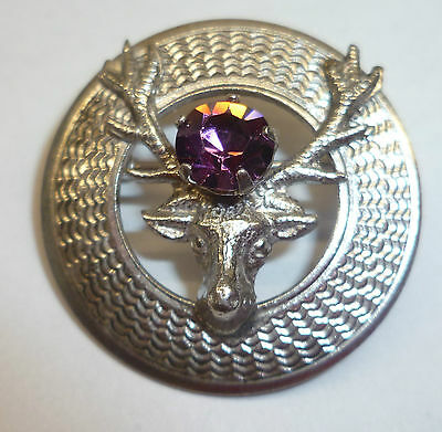 Vintage Sterling Silver Kilt Pin By Wbs With Amethyst Colored Stone C. 1950S