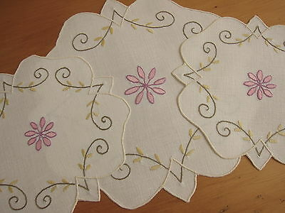 Set of 3 Vintage Doilies Pink Flower Hand Embroidered Linen