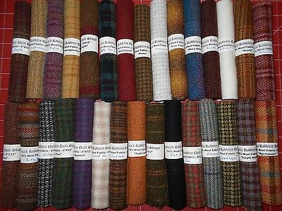 """""""One of Everything!"""" Sampler Stash 30 wools 6X12! For Applique Penny Rug Hooking"""
