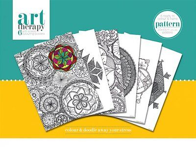 PATTERNS COLOURING POSTERS - NEW 6 x ART THERAPY COLOURING POSTERS PACK PCP0064