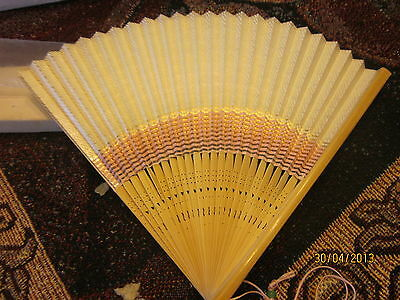 Vintage Chinese Paper Fan wood sticks cutout hearts in box