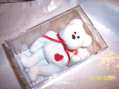 """TY """"VALENTINO"""" 1994 Bear Ty Beanie Baby - Retired -mint with tag in TY case"""