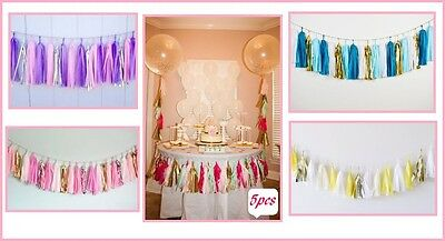 5pcs Tissue Paper Garlands Bunting Tassels Party Wedding Baby Shower Decorations