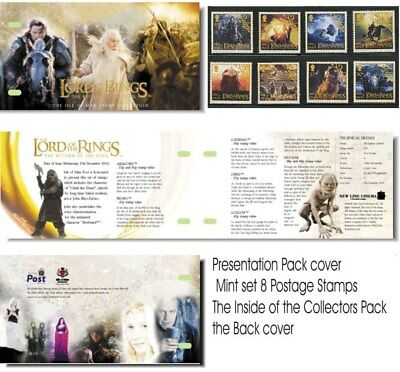 Lord Of The Rings Stamps Set Of 8 Presentation Pack From Isle Of Man - Hobbit
