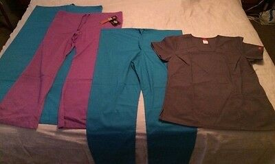 Medical Scrubs Large 3 Pants, 1 Top, All New