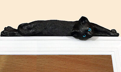 Black Lazy cat figurine door topper with blue eyes (silhouette)