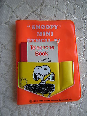 """Vintage """"Snoopy Mini Pencil Pad"""" with Attached Mini Telephone Book"""