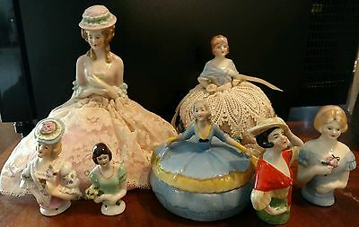 Lot 7 Vintage Pin Cushion Half Dolls German powder Jar