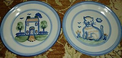"""(2) M.A. Hadley 11"""" Dinner Plate House Country Home Theme and CAT Ma"""