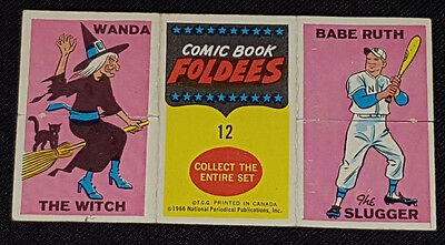 1966 Topps - Comic Book Foldees Trading Card #12 - Babe Ruth Wonder Woman Wanda