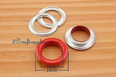 eyelets metal with washer grommets red round 60 sets 12 mm CK69