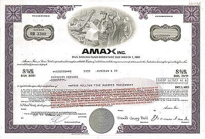 Amax Inc   1989 New York old bond certificate share issued for $4.5 million!!