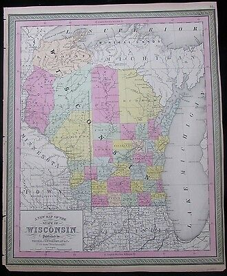 Wisconsin w/ Indian territories Michigan 1850 Mitchell scarce antique map