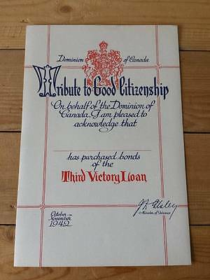 Original 1942 WW2 Canada Third Victory Loan Bond Certificate in Mint Condition
