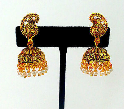 Indian Jaipuri Jewelry Antique_Gold_ Plated Pearls Jhumka Chandelier Earring