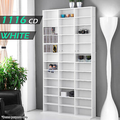 White DVD Storage Shelf Rack Bluray 1116 CD Media Cupboard Book Tower Stand Unit