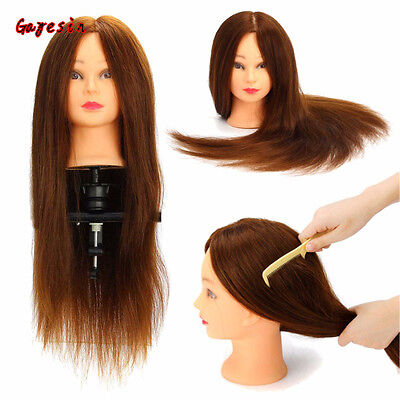 """24"""" 100% Real Human Hair Mannequin Head Salon Hairdressing Training Model +Clamp"""