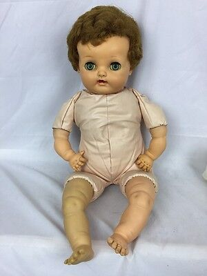 "RARE VTG  21"" Ideal Doll P5 Blonde Baby Big Eyes Vinyl w Oil Cloth Body CRIES!"