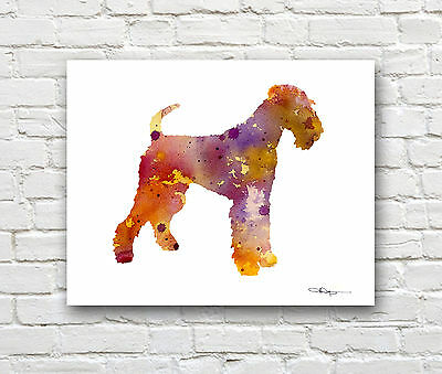 Airedale Terrier Abstract Watercolor Painting Art Print by Artist DJR