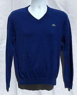 Lacoste Men's Blue Pullover V-Neck Sweater Sz 3 (S)