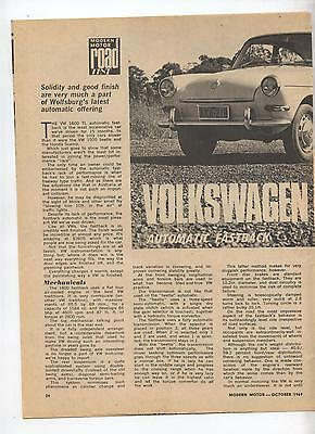 VW Volkswagen Fastback Auto Original Road Test Article Removed from a Magazine