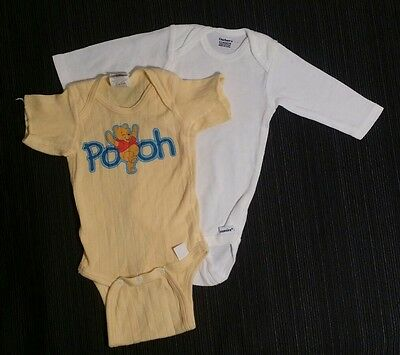 Newborn Infant Lot of 2 One Piece Outfits 0-3 Months White LS Yellow Pooh Bear