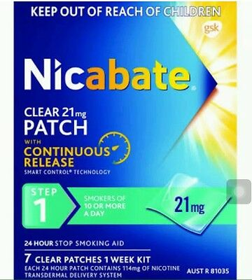 4 X Boxes of Nicabate 21mg Clear Patches. 14mg or 7mg also available.
