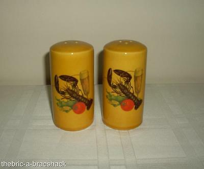 Vintage USA Numbered LOBSTER Beer Ceramic Hand Painted Salt Pepper Shakers