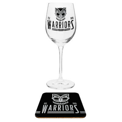 New Zealand Warriors NRL Wine Glass And Coaster Set