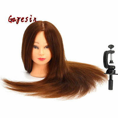 24 Inch 100% Real Human Hair Training Mannequin Head Hairdressing Practice Model