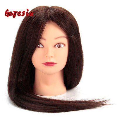 """Salon 28"""" Brown Hair Hairdressing Training Head Mannequin Practice Model +Clamp"""