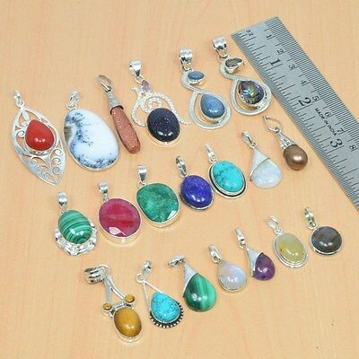 Wholesale 20Pc 925 Solid Sterling Silver Natural Emerald & Mix Stone Pendant Lot
